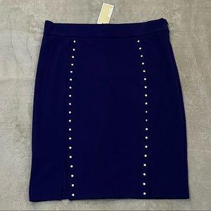 Michael Kors Navy Blue Skirt With Gold Studs- XL